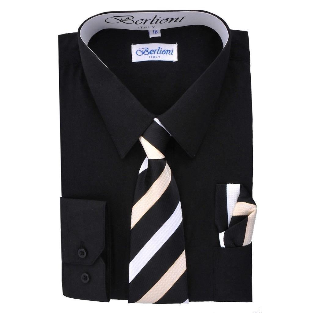 BERLIONI ITALY TODDLERS KIDS BOYS LONG SLEEVE DRESS SHIRT SET TIE & HANKY BLACK