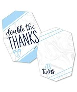 It's Twin Boys  - Shaped Thank You Cards - Blue Twins Baby Shower Thank ... - $13.19