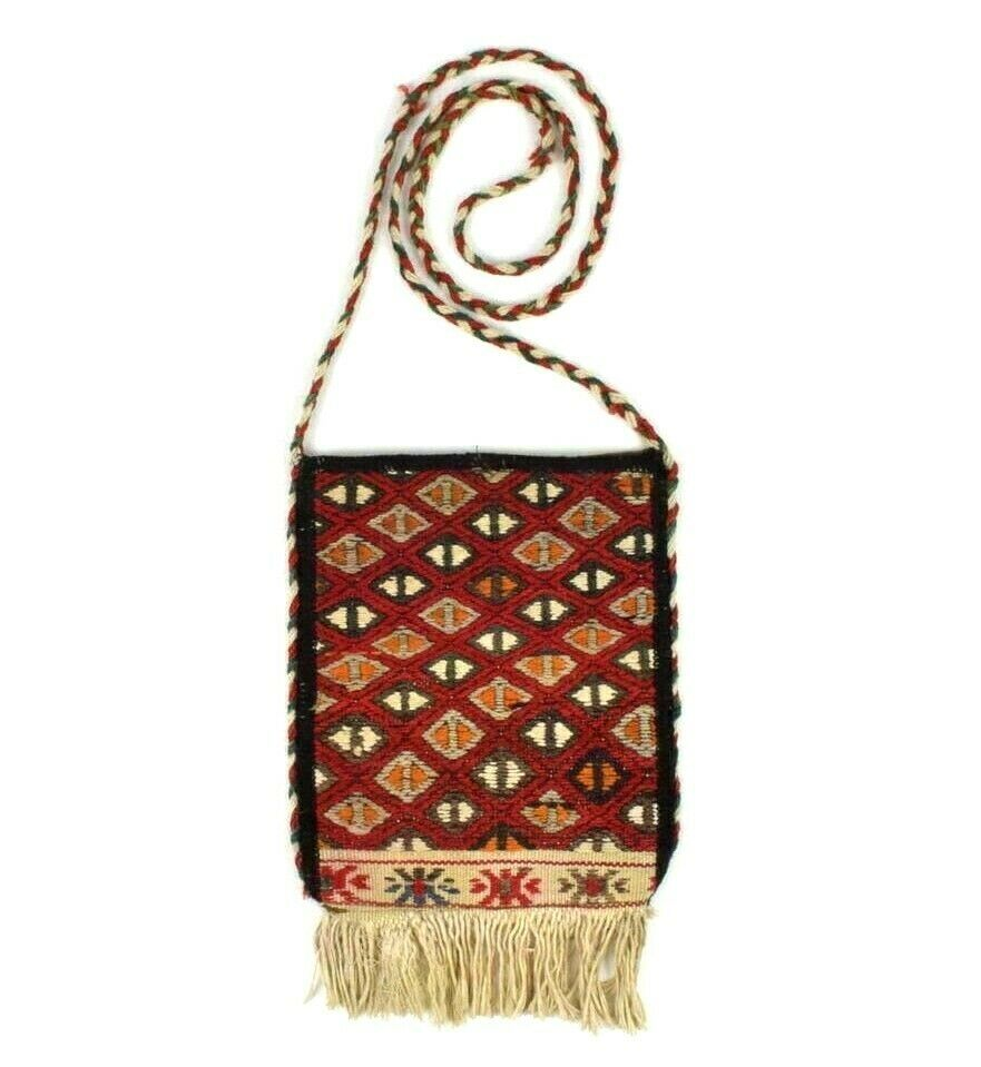 Primary image for Vtg 60s Red Wool Killim Rug Fringe Quilted Shoulder Bag Pouch Purse Hippie Boho