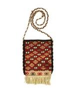 Vtg 60s Red Wool Killim Rug Fringe Quilted Shoulder Bag Pouch Purse Hipp... - $34.64