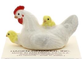 Hagen-Renaker Miniature Ceramic Chicken Figurine White Hen with Chicks image 1