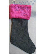 Handmade Black Scroll Filigree with Faux-Fur Holiday Christmas Stocking ... - $12.99
