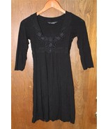 W8814 Womens AX ARMANI EXCHANGE Black Empire A LINE DRESS LBD Rayon Stre... - $19.28
