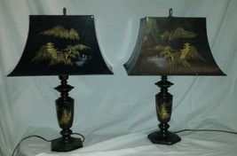 Mid Century brass etched lamps Mountains Pagodas Chokin Art with Rare Sh... - $198.93