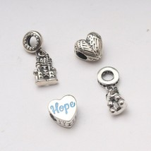 Designer 92.5 Sterling Silver Pandora Charms Love Beads Charm Threaded F... - $8.42+