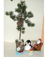 Table Top Christmas Tree w Electric Santa Fireplace Lamp, Plush Penguin 13 - $24.00