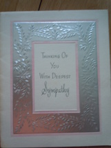 Vintage Thinking Of You With Deepest Sympathy Silver Border Gibson Greet... - $2.99