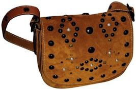 COACH 56621 Suede Leather Western Rivet Saddle Bag Crossbody Handbag Gin... - $295.44