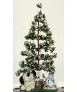 Big Table Top Christmas Tree w Snowman Candle H... - $24.00