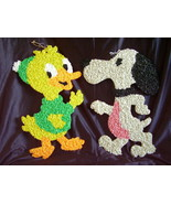 Melted Plastic Popcorn Decorations Duck Snoopy Lot of 2 - $42.00