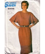 VTG Simplicity 6533 Dolman Sleeve Dress c.1985 - $12.00