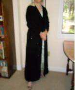 Vintage Evening Coat Blk Silk Velvet, faux fur hood lining  - $125.00