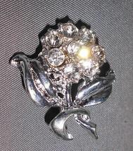 VTG Silver Tone Rose Flower Clear CZ Rhinestone Pin Brooch image 2