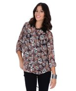Mono B Long Sleeve High Low Blouse With Skulls - $10.99