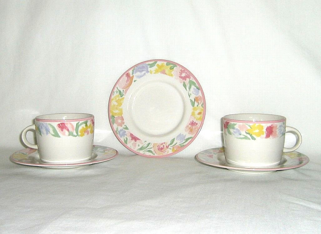 Newcor Monet's Garden 6117 6 Cups and 7 Saucers