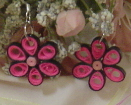 Primary image for Paper Quilled Handcrafted Pink Flower Earrings New