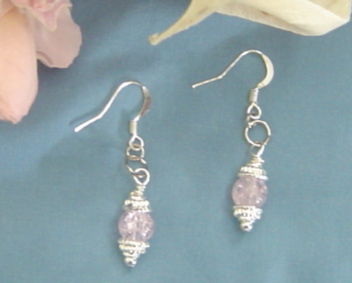 Primary image for Handcrafted Silverplate and Pink rackled Glass Earrings