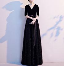 Women Half Sleeve Velvet Maxi Dress High Waist Formal Dress, Black, Plus Size image 12