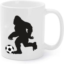 Funny Bigfoot Soccer Coffee Mug, Sasquatch Foot Ball Coffee Mug Gift - $16.95
