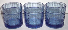 Vintage (3) Anchor Hocking Wheat Designed Blue Color Short Glass Tumblers - $25.99