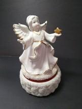 "Ceramic Christmas Angel Rotating Music Box Plays ""Hark the Herald Angels... - $24.74"