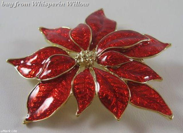 Primary image for 14 Karat Gold Plated Poinsettia Fashion Pin