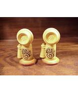 Pair of Candlestick Phones Ceramic Salt and Pepper Shakers - $4.50