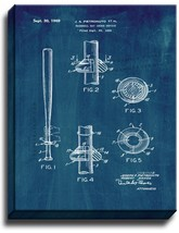 Baseball Bat Choke Device Patent Print Midnight Blue on Canvas - $39.95+