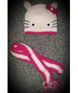 Kids Hello Kitty Handmade Crochet Hat & Scarf Set - $40.00