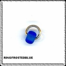 FROSTED BLUE Security Ring w BEAD Nail Dangle art charm - $2.99