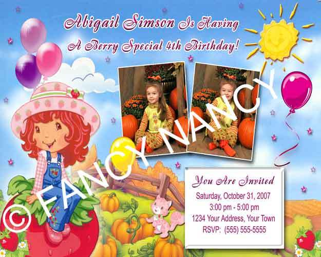 Strawberry Shortcake Halloween Birthday Party Invitation