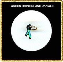 GREEN  Rhinestone RIBBON  Nail Art Dangle Jewelry - $3.94