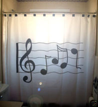 SHOWER CURTAIN music Sheet Treble Clef notes staff line - $85.00