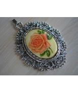 Porcelain Rose Cameo, Ornate Silvertone Frame Pendant - $9.99