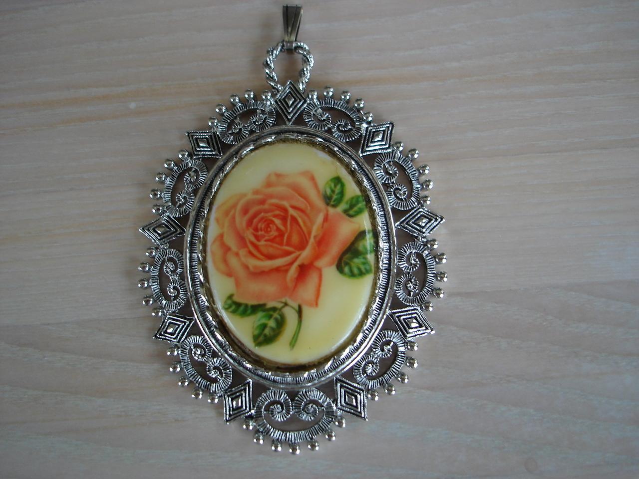 Porcelain Rose Cameo, Ornate Silvertone Frame Pendant