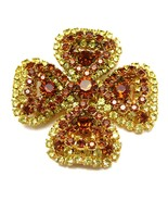 Vintage Topaz & Citrine Rhinestone 4-Leaf Clover Brooch Pin - $59.99