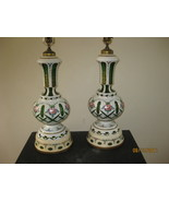 Pair of Bohemian Glass White cut to Green Table Lamps - $595.00