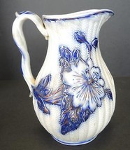 Antique Flow Blue Water Pitcher With Raised Floral Display - $42.74