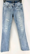 Silver Suki Jeans Women's Sz 24/31 Classic Stretch Straight Destroyed (j)   - $32.00
