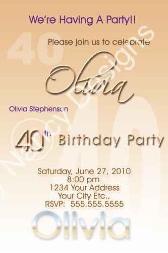18th 21st 30th 40th 50th 65th Birthday Party Invitation