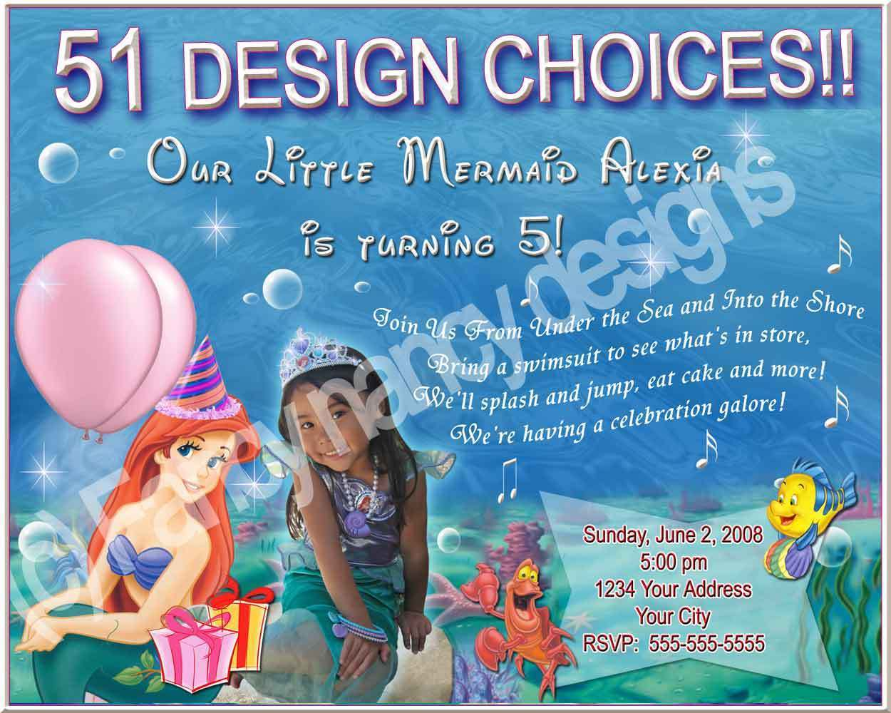 Disney Ariel Litte Mermaid Birthday Party Invitations C
