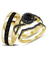 14k Yellow Gold Over 925 Sterling Silver Black Diamond His Her Wedding T... - $122.39