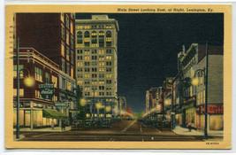Main Street At Night Lexington Kentucky 1947 linen postcard - $5.89