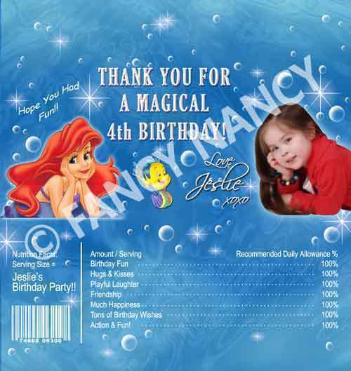 Ariel Little Mermaid Candy Bar Wrapper Birthday Party Favor