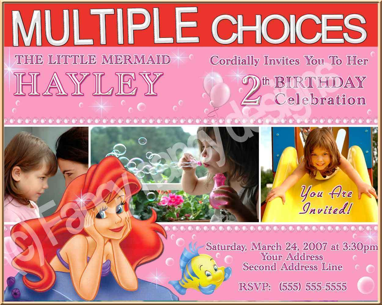 Princess Ariel Little Mermaid Birthday Party Invitations B