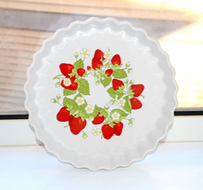Vintage large fluted Pie Pan Plate stoneware Japanese pottery strawberry... - €45,88 EUR