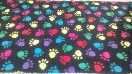 New Multi-color Paw Prints on Black Fleece Fabric by the yard - $9.90