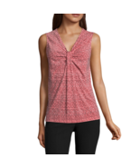Worthington Sleeveless Knot-Neck Top Size PS, PM, PL Coral Golden Lines New - $16.99