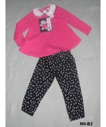 Kaboom Size 2T Pink & Black Cute Kitty Top and Tights - $10.00