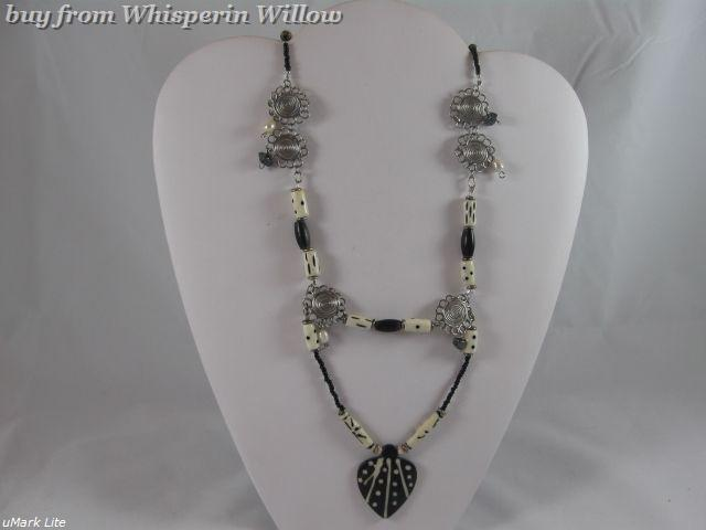 Primary image for Heart's Journey Necklace with Bone Beads, Hematite, Sterling